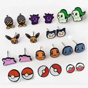 Pocket Monster cartoon anime Earring  go Pokeball Charmander Snorlax Chikorita Piercing pin Ear Stud Jewelry Girl KidsKawaii Pokemon go  AT_89_9