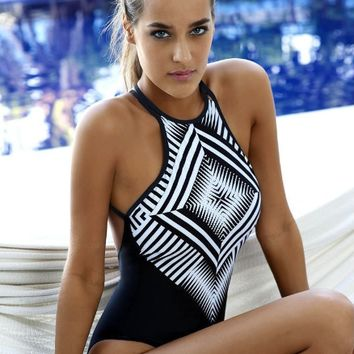 Black Geometric Print One Piece Swimsuit