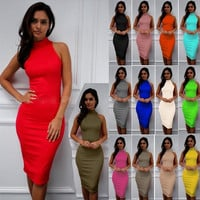 Women Dress Summer Fashion Turtleneck Sleeveless Sexy Bodycon Bandage Pencil Dress   [9222644932]