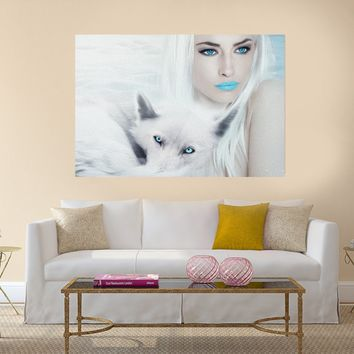 Wolf and Woman - Blue Eyes - Canvas Wall Art