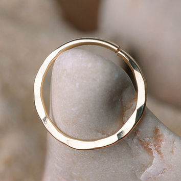 SEPTUM RING / EAR /Cartilage 14 K Gold filled . 16 Gauge Handcrafted hammered texture.