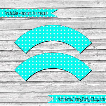 Turquoise Blue and White Polka Dot Printable Cupcake Wrapper Set –  DIY printable party supplies – birthdays & showers - INSTANT DOWNLOAD