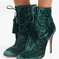 Aquazzura - Almaty lace-up embroidered crushed-velvet ankle boots
