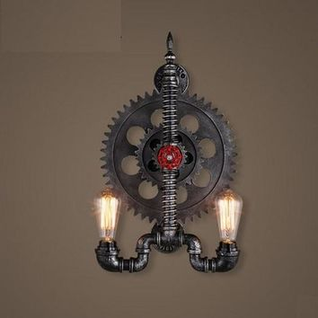 Loft Style Iron Wheel Industrial Vintage Wall Light For Home Antique Water Pipe Lamp Bedside Edison Wall Sconce Lampara Pared