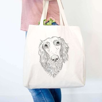Mr. Rusty the Long Haired Dachshund - Tote Bag