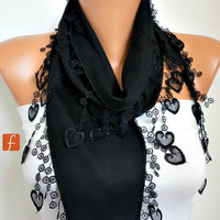 ON SALE - Black Heart Scarf Pashmina  Scarf  -  Cowl Scarf  - LOVE - fatwoman