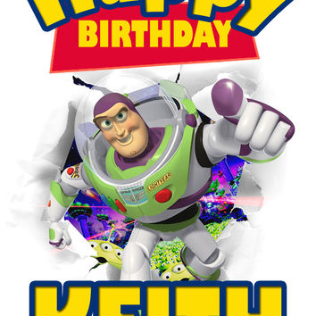 Personalized Custom Birthday T-shirt Disney Toy Story Buzz Lightyear