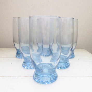 Blue drinking Glasses, footed glasses, set of 6, 1980s, vintage glasses, housewarming gift, wedding present, gift idea, drinkware