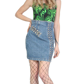 80s 90s SANTANA Studded Denim Skirt - High Waisted Denim Skirt - Jean Skirt - Above The Knee - Vintage Clothing - Mini Skirt - Grunge Goth