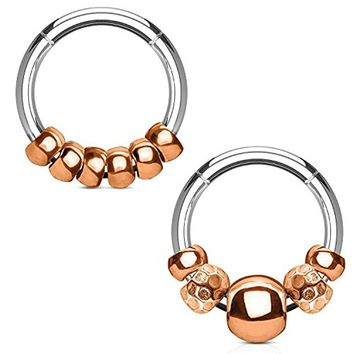 BodyJ4You 2PCS 16G Nose Hoop Seamless Hinged Segment Ring Rose Gold Beads Surgical Steel Septum