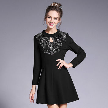 Fitted Beaded A Line Mini Dress Women Plus Size Long Sleeve Party Key Hole Dresses l to 5xl