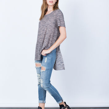 Marled Hi-Low Tee - Large