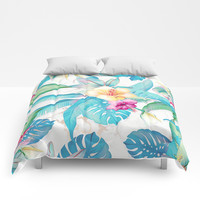 Blue tropical flowers Comforters by printapix
