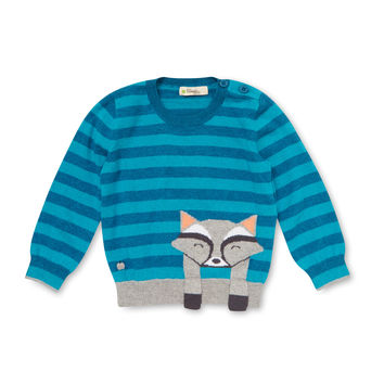 Bonnie Mob Raccoon Intarsia Knit Sweater - Blue -