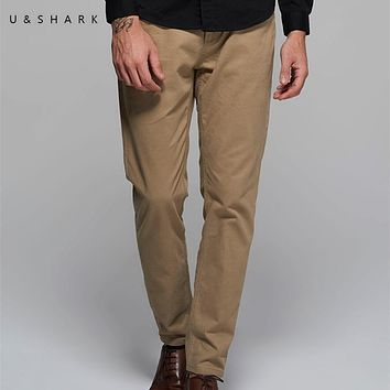 U&Shark High Quality Designer Casual Khaki Pants Regular Brand Men Workwear Luxury 2017 Spring Cotton Formal Office Trouser Male