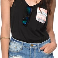 Sirens & Dolls Geo Tribal Pocket Black Tank Top