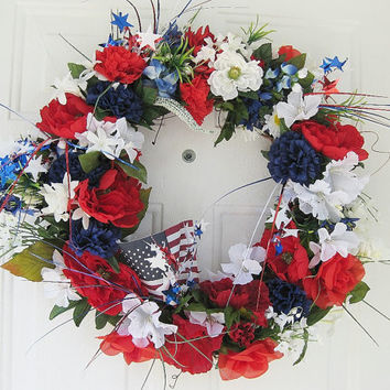 Patriotic Wreath -Red White and Blue  Wreath - Holiday Wreaths - 4th of July Wreath - Independence Day Decor - Memorial Day Wreath