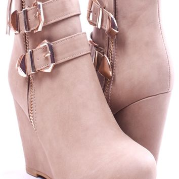 TAUPE FAUX SUEDE ANKLE BOOTIES 2 BUCKLE ACCENTS
