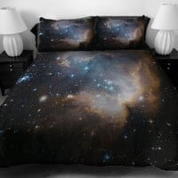 Anlye Black Blue Teen Galaxy Bedding Designing Set 2 Sides Printing Out Space Quilt Coverlet Dark Out Space Bed Sheets with 2 Decor Pillow Covers Full