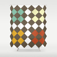Checkers Fall Shower Curtain by Dena Brender Photography