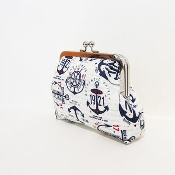 Clutch Metal Snap Pouch Coin Purse  Pouch Anchors Away Nautical Motifs