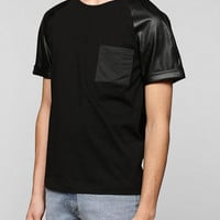 Damaged Goods Faux-Leather Mesh Pocket Raglan Tee - Urban Outfitters