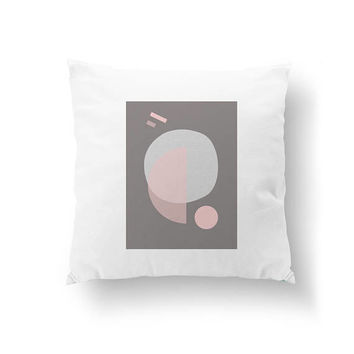 Mid Century Decor, Home Decor, Pink Gray, Geometric Shapes, Cushion Cover, Decorative Pillow, White Pillow, Pastel Circles, Throw Pillow