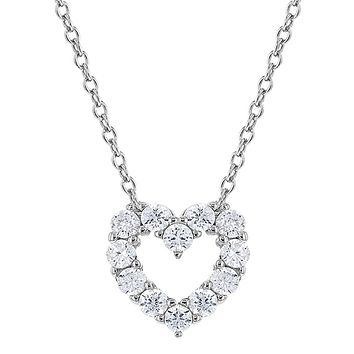 925 Sterling Silver Cubic Zirconia Open Heart Necklace Pendant for Girls 17""