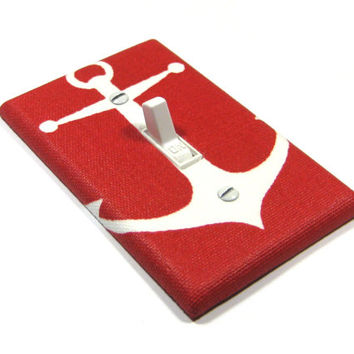 Red Anchor Light Switch Cover Nautical Decor Coastal Bedroom Decoration Switchplate 1443