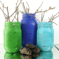 Blue and Green, Painted Mason Jars -- Set of Three (3), Rustic and Distressed Mason Jars | Cute, Home Decor