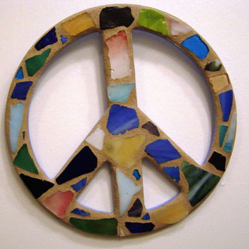 Sea Glass Mosaic Peace Sign, Peace Sign Wall Art, Beach Glass Peace Sign, Beach Glass, Wall Art, Peace Sign, Beach Decor, Hippie