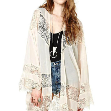 White Cut Out Lace Long Sleeve Chiffon Kimono