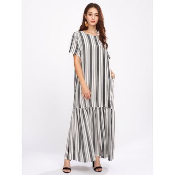 Black And White Vertical Striped Drop Waist Full Length Dress