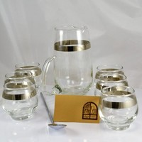 Martini Bar Set - 6 Roly Poly Platinum Silver Band Glasses - 1 Martini Pitcher - 1 Stainless Stir Spoon Libbey MCM Glass - NOS