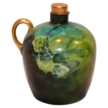 Unique Limoges Porcelain Jug / Ewer / Pitcher ~ Hand Painted with Grape Leaves ~ Artist Dated and Initialed ~  Tressemann & Vogt  ( T&V ) Limoges France 1892-1907