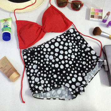 New vintage high waist red top and black polka dot top bottoms fashion on summer women set handmade 100%