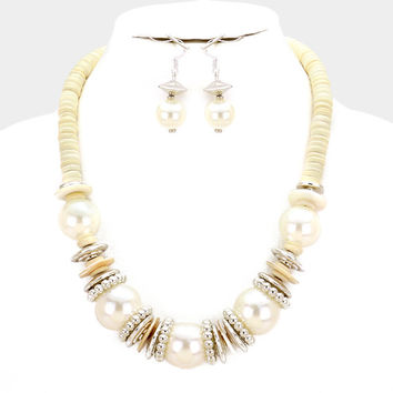 Chunky Ivory Pearl & Silver Bead wood disc cluster bib necklace and earring set