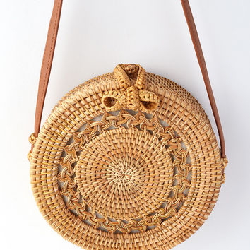 Port Costa Tan Round Woven Purse