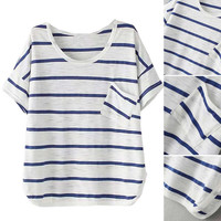 Blue Striped Printed Short Sleeve Patch Pocket T-Shirt