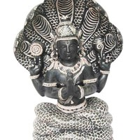 Patanjali Statue Hand Carved Gorara Stone Sculpture with 5 Headed Serpent 8 Inch