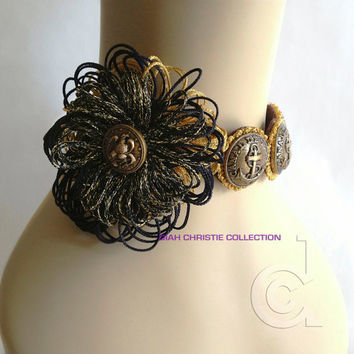 Vintage button necklace, flower choker, gold button headband, military inspired, flapper, anchor, black, gold, brown