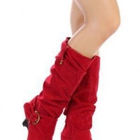 Qupid Naylie-09 Buckle Knee High Boot