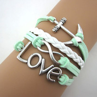 Mint green anchor ring bracelet,infinity bracelet, leather, Birthday gift, girlfriend gift