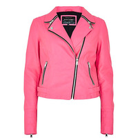 Bright pink zip collar biker jacket - leather / leather look jackets - coats / jackets - women
