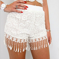 New Trends Sexy Womens Celeb Lace Fringed Hem Casual Slim Beach Shorts Hot Pants