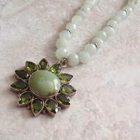 Peridot Necklace Sterling Silver Prehnite Green Gemstone Turquoise Vintage