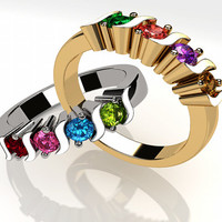 14k Personalized  Mothers S Bar Ring Solid White Yellow Or Rose Gold  w/ 1 2 3 4 5 or 6 Birthstones Custom Family Jewelry