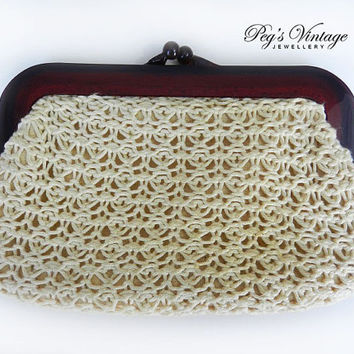 Vintage Crochet Clutch, Handbag, Cream Clutch, Faux Tortoiseshell Celluloid Handles, 60s Purse Hong Kong