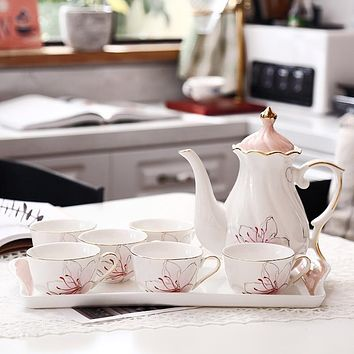 Elegant Porcelain Tea/Coffee Set with Serving Tray