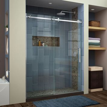 DreamLine Enigma Air 56 in. to 60 in. x 76 in. Frameless Sliding Shower Door in Brushed Stainless Steel-SHDR-64607610-07 - The Home Depot